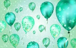 Elegant Green Flying helium Balloons with Bokeh Effect and glitter. Wedding, Birthday and Anniversary Background. Vector. Elegant Blue Green helium Balloons with royalty free illustration