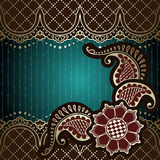 Elegant green & gold banner inspired by Indian mehndi Royalty Free Stock Photography