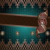 Elegant green & gold banner inspired by Indian mehndi Royalty Free Stock Photos