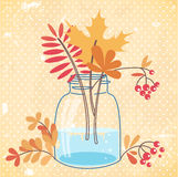 Elegant greeting card with autumn leaves and berries bouquet Stock Photography