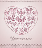 Elegant greeting card with decorative heart. Elegant greeting card with decorative ornamental heart. Vector illustration Stock Image