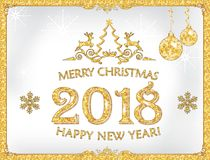 Merry Christmas and a Happy new Year 2018! Greeting Card with Golden Paint Stains Stock Photography