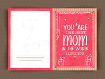 Elegant greeting card design for Happy Mothers Day. Elegant greeting card design for Best Mom in the World on occasion of Happy Mothers Day celebration Stock Image
