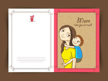 Elegant greeting card design for Happy Mothers Day. Cute little boy on his moms back, Elegant greeting card design for Happy Mothers Day celebration vector illustration