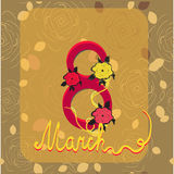 Elegant greeting card design for International Women's Day celebration on rose pattern background. Elegant greeting card design for International Women's Day Royalty Free Stock Image