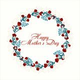 Elegant greeting card design with stylish text Mother`s Day with spring colorful flowers. Vector illustration Royalty Free Stock Photo