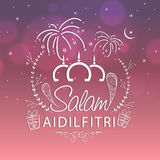 Elegant greeting card for Eid festival celebration. Beautiful greeting card design with stylish text Salam Aidilfitri on firecrackers decorated shiny background Royalty Free Stock Images
