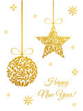 Elegant Greeting card with Golden Christmas ball and star Stock Images