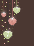 Elegant greeting card with hanging shiny heart Royalty Free Stock Image