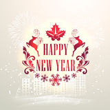 Elegant greeting card for Happy New Year. Beautiful greeting card design with Xmas ornaments on fireworks decorated urban city background for Happy New Year Stock Photography