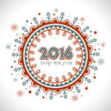 Elegant greeting card for Happy New Year. Beautiful floral design decorated greeting card for Happy New Year 2016 celebration Stock Images
