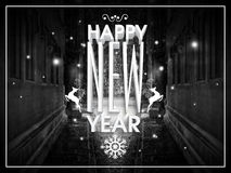 Elegant greeting card for Happy New Year. Creative greeting card design with 3D text Happy New Year and Christmas ornaments on winter night background Royalty Free Stock Photography