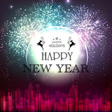 Elegant greeting card for Happy New Year. Elegant creative greeting card design with fireworks on urban city background for Happy New Year and Happy Holidays Stock Photography