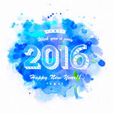 Elegant greeting card for Happy New Year. Elegant greeting card design with stylish text 2016 on blue color splash background for Happy New Year celebration Royalty Free Stock Photography