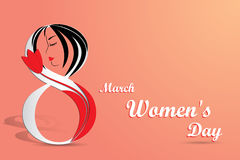 Elegant greeting card for International Women`s Day.  Stock Photos