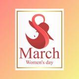 Elegant greeting card for International Women`s Day. Day, 8, march, women, international, womens, woman, card, background, happy, greeting, illustration, vector Royalty Free Stock Image