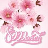 Elegant greeting card. 8 March International Women`s Day. Sakura flowers, cherry blossom. Elegant greeting card. 8 March International Women`s Day. Vector card Stock Photos
