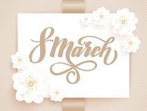 Elegant greeting card. 8 March International Womens Day. Vector card with beautiful flowers element and elegant. Typography. Tender gift card Stock Photography