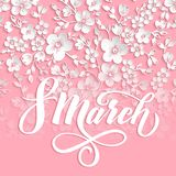 Elegant greeting card. 8 March International Womens Day. Vector card with beautiful sakura flower element and elegant. Typography. Cherry blossom background Stock Images