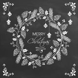 Elegant greeting card for Merry Christmas. Merry Christmas celebration greeting card decorated with beautiful floral design on chalkboard background Stock Images