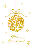 Elegant Greeting card. Merry Christmas! Christmas ball from abstract floral ornament isolated on a white backg Royalty Free Stock Photography
