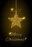 Elegant Greeting card. Merry Christmas! Star from abstract floral ornament with golden glitter Stock Photography