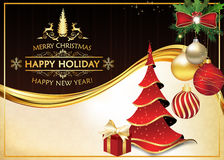 Elegant greeting card for winter holidays. Merry Christmas and Happy New Year! Print colors used. Size 7` 5 Stock Photos