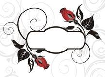 Elegant greeting label. Elegant  label decorated with roses Stock Photos