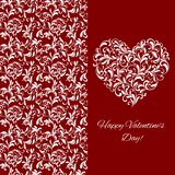 Elegant greeting postcard for Valentine`s Day. Heart from floral ornament. On red background with pattern vector illustration