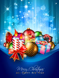 Elegant greetings background for flyer. S or brochure for Christmas or New Year Events with a lot of stunning Colorful baubles Royalty Free Stock Image
