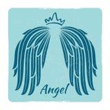 Elegant grunge emblem with angel wings vector illustration