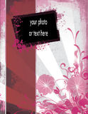 Elegant Grunge Template with Floral and Photo Stock Photos