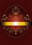 Elegant guld- oval ram med krumelurer, kronblad och kronan Arkivfoton