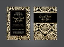 Elegant guld- svart Art Deco Gatsby Wedding Invitation design royaltyfri illustrationer