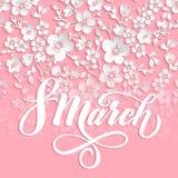 elegant hälsning för kort 8 internationella kvinnors för marsch dag Vektorkort med den härliga sakura blommabeståndsdelen och ele vektor illustrationer