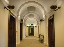Elegant hallway. With ornate plaster arched ceiling Royalty Free Stock Images