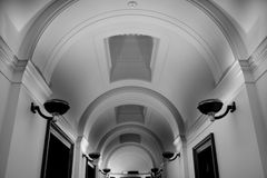 Elegant hallway. With ornate arched ceiling Stock Image