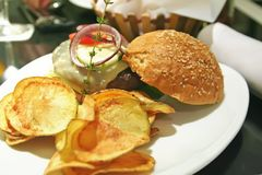 Elegant hamburger Stock Images