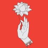 Elegant hand dragen Buddhahand med blomman Isolerade symboler av Mudra Beautifully specificerat, fridfullt dekorativ elementtappn Royaltyfri Fotografi