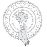 Elegant  hand drawn Buddha hand with flower. Isolated icons of Mudra. Beautifully detailed, serene. Vintage decorative elements. I Stock Images