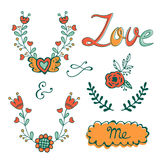 Elegant hand drawn collection of graphic elements. Ideal for embroidery post cards or invitations Royalty Free Stock Images
