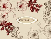 Elegant hand drawn invitation card in floral style Stock Image