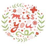 Elegant hand drawn miss you floral card. Vector illustration royalty free illustration