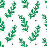 Elegant hand drawn rosemary herb seamless pattern Stock Photo