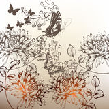 Floral hand drawn background with ornament, flowers and butterfl Stock Photography