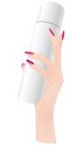 Elegant hand holding blank spray bottle. Royalty Free Stock Photos