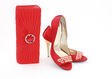 Elegant handbag and shoes for women Stock Photo
