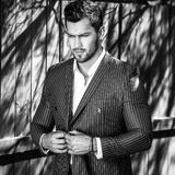 Elegant handsome man in classical grey suit poses near wooden fence Royalty Free Stock Images