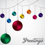 Elegant hanging Christmas baubles. In vector format vector illustration