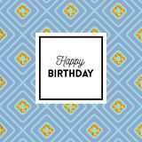 Elegant Happy Birthday geometric greeting card design. Happy Birthday geometric greeting card design with a repeating bold blue diamond pattern with gold glitter stock illustration